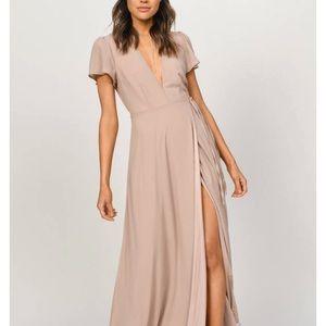Tobi Piper Taupe Plunging Maxi Dress